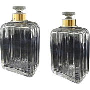 Pair French Dresser / Cologne Crystal Bottles .950 Silver French Minerva Mark Collars - after