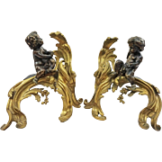 Pair French Chenets Chased Gilt Bronze Rocaille Patinated Putti Fireplace Andirons  - c. 1850,