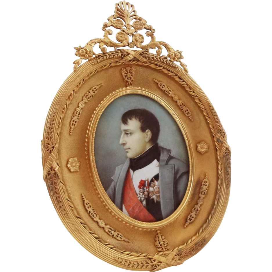 Napoleon Bonaparte Large Oval Miniature Portrait in French Gilt Bronze Ormolu Frame - 19th Century, France