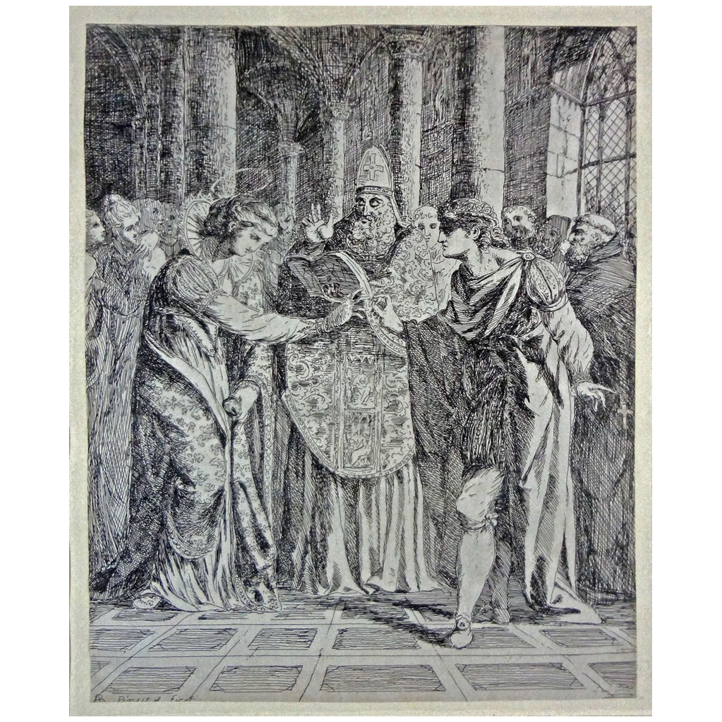 Early Etching Marriage King Malcolm St Margaret by Alexander Runciman - c. 1770, Scotland