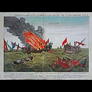 American War of Independence Naval Battle Quebec & Surveillante Engraving Liezelt after Pa