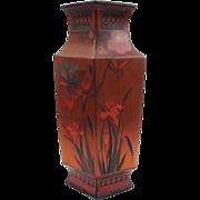 Totai-Shippo Cloisonne on Porcelain Tall Vase  - Meiji Period, Japan