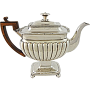 SOLD Old Sheffield Plate Georgian Tea Pot on Pedestal with Wooden Handle - c. 1800's, England