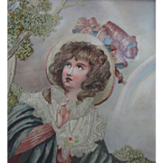 Embroidered Picture Spring Allegory Worked in Silk and Watercolor by Mabel Percivall - 1927