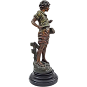 "French Fisherboy / La Bone Peche 18"" Color Patina Spelter Figure after L. and F. Moreau - 19th/20th Century, France"
