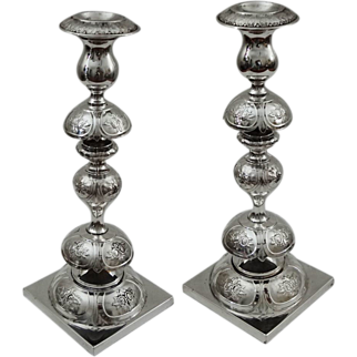 Pair of Tall Fraget Plaque Candlesticks Empire Double Eagle Mark Silver Plated - 1896-1915, Poland