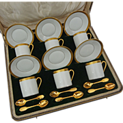 Set 6 Limoges / Christofle Expresso Demitasse Cups, Saucers and Spoons - 20th Century, France