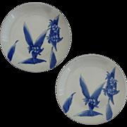 Pair of Japanese Arita Plates Celadon Glaze and Cobalt Blue Ginger Lily Design - c. 20th Centu