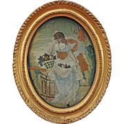 Silkwork Needlework Picture Allegory of Summer Oval Gilt Frame