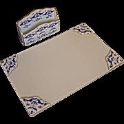 French Blue White Gilt Porcelain Desk Set Letter Rack Holder Organizer with Matching Ink Blott