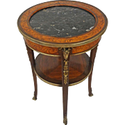 French Empire Style Two Tiered Gueridon / Occasional Table Marquetry, Bronze and Marble