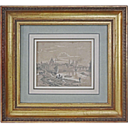 View along the River Elbe on Dresden signed A. Castell and dated 1858 - 19th Century, Germany
