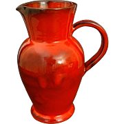 French Studio Pottery Red Glazed Faience Pottery Pitcher / Jug signed Casy La Turbie - 20th Ce