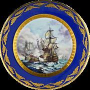 Battle of Trafalgar Cabinet Plate Raised Gilt Cobalt Signed Art Deco Period - 1920 to 1928, Ge