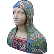 Renaissance Style Faenza / Maiolica Bust of Young Maiden Blue Floral Veil - c. 20th Century, I