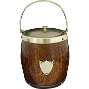 English Oak and Silver Plate Ice Bucket - c. 19th Century, England