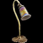 SOLD Adjustable Gooseneck Desk Lamp Art Glass Iridescent Shade Art Nouveau Style