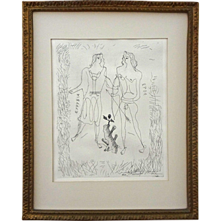 Modern Georges Braque Authenticated Etching Eros and Eurybia Framed - 20th Century, France