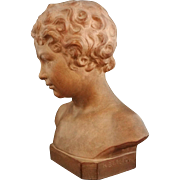 French Terracotta Bust Young Boy / Child Signed H. Bargas - 20th Century, France