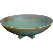 SOLD Craftsman / Mission Fulper Large Low Bowl Cross Feet Turquoise Flambe Glaze - 20th Centur