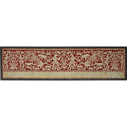 Italian Renaissance Embroidery Panel Valance Border Red Silk Thread on Linen  - circa 17th ...