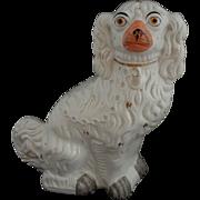 """Staffordshire Large 13"""" Spaniel Dog White Orange Muzzle - England"""