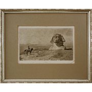 Napoleon in Egypt or Oedipus after J. L. Gerome Sepia Photogravure Framed - 1893, France