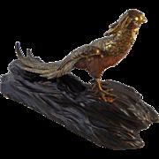 Antique Japanese Meiji Period Metalwork Signed Gilt Bronze Okimono of a Pheasant - 1868-1912,