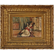 Orientalist Watercolor Painting Lady Reading signed Cortazzo - 19th Century, France