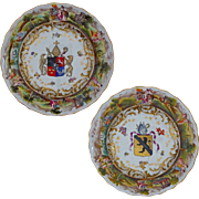 Pair Armorial Porcelain Plates Raised Classical Figure Border Crowned N Mark Majolica