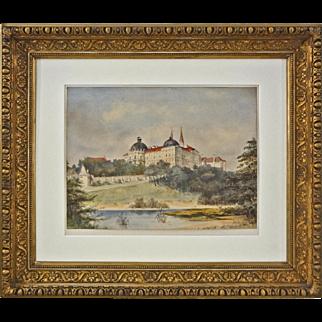 Klosterneübürg Monastery Watercolor Monogrammist Signed - c. 1890's, Austro-Hungary