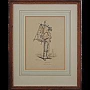Gagne Petit / Working Poor / Knife and Scissor Grinder Lithograph after Carle Vernet Framed -