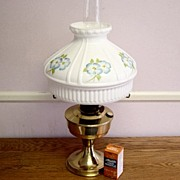 Vintage Brass Aladdin 23 Oil Lamp With Shade