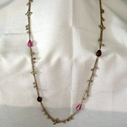 Monet Gold Chain And Glass Beads Necklace