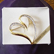 Jennifer Moore Genuine Crystal And Polished Gold Heart Brooch