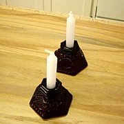 Ruby Red Cape Cod Candle Holders
