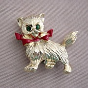 Gold Tone With Green Glass Eyes And Painted Red Bow Cat Pin