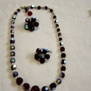 Red Iridescent Beads Necklace and Clip on Earrings
