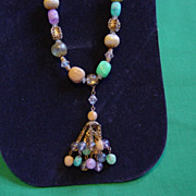 SALE Vintage Multicolor Drop Necklace