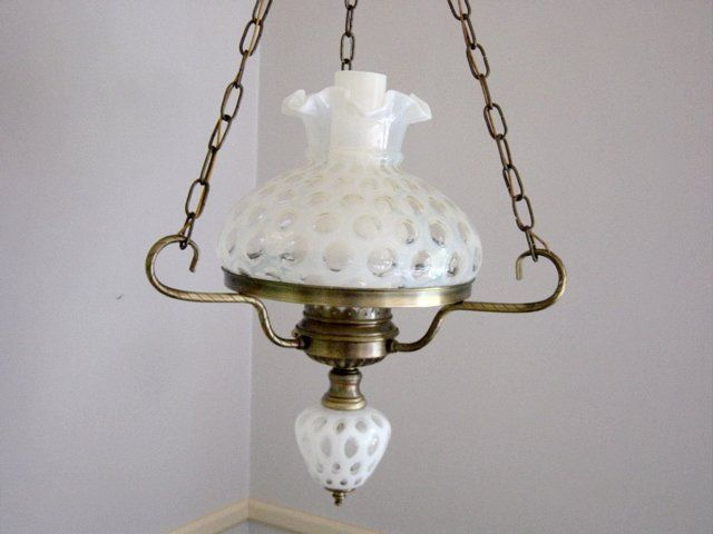 Vintage Fenton French Opalescent Coin Dot Hanging Light Fixture  Fenton