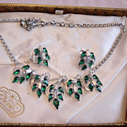 SALE Jewelry Styled By Duane Emerald Green/Rhinestones Necklace And E/R  Set