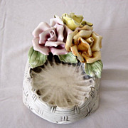 Capodimonte Soap Dish In Basket Weave Pattern