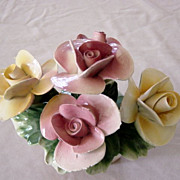 Capodimonte Oblong Basket Of Pink And Yellow Roses