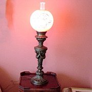 SOLD Vintage Bronze Parlor Lamp With Pink And Gold Globe