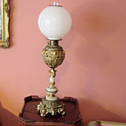 SOLD Vintage To Antique Marble And Brass Parlor Lamp