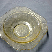Vintage Yellow Depression Glass Bowl