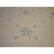 Vintage Chenille Twin Bedspread In Light Blue And Green On White.