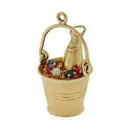 Retro 14kt Sapphire, Ruby & Pearl Champagne Bottle Charm