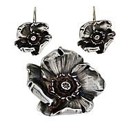 Art Nouveau Signed Kerr Sterling Silver Pin/Pendant & Earring Set