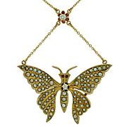 Victorian 14kt Diamond & Seed Pearl Butterfly Pendant